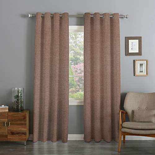 DOLLCENT Linen Textured Polyester Curtains for Living Room, Rod Pocket Burlap Light Filtering Window Treatment Set for Bedroom, 2 Panels - Beige (52x72 Inches)