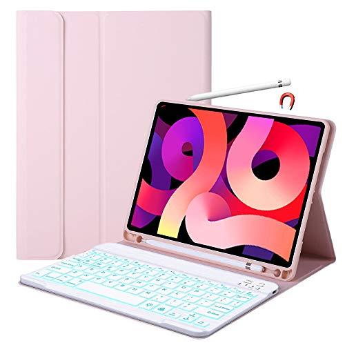 Funda de Teclado para iPad Air 4th 10.9 2020-7 con Colores retroiluminados Smart Case con Soporte de Carga inalámbrico Desmontable BT Teclado lápiz Stand Cover para iPad Air 4 Generación 10.9 2020
