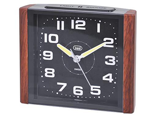 Trevi 3095 – Reloj despertador cuadrado de diseño retro y maquinaria de cuarzo de funcionamiento silencioso – Madera