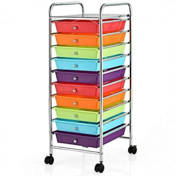 Productworld258 10 Drawer Rolling Storage Cart Organizer-Multicolor