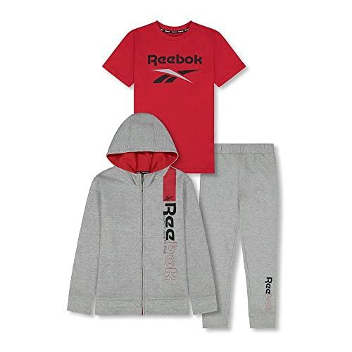 Reebok Boys' 3-Piece Tracksuit Clothing Set-Zip-Up Hoodie Sweatshirt + Crewneck T-Shirt + Fleece Jogger Sweatpants, LT Heathr Gry, 5
