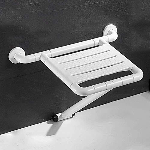 yunyu Asientos de Ducha con Brazos, taburetes de baño Plegables montados en la Pared, Auxiliar de Movilidad para el baño cómodo para Ancianos/discapacitados/Mujeres Embarazadas, blanco-35x42cm