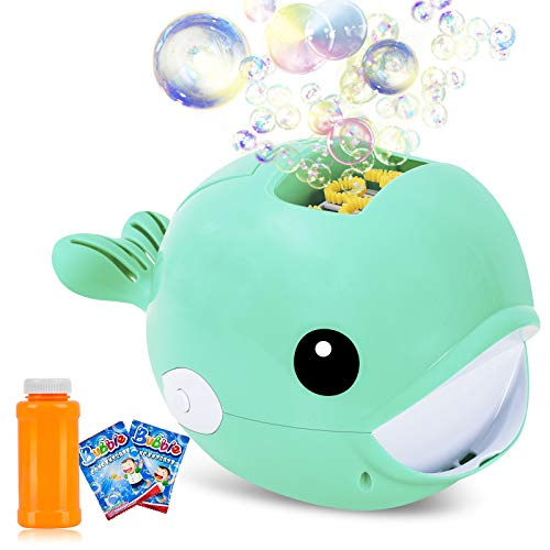 Auney Bubble Machine, Automatic Durable Bubble Blower for Kids, Portable Bubble Maker 2000+ Bubbles Per Minute, Simple and Easy to Use for Party Bubble Toys (Green)