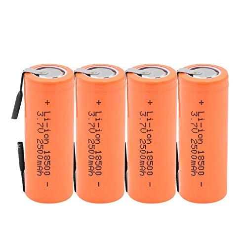 yfkjh Batería De Iones De Litio De 3.7v 2500mah 18500, con 2 PestañAs De Soldadura, Celda De Iones De Litio para Linterna Led, Faro MecáNico 4pieces