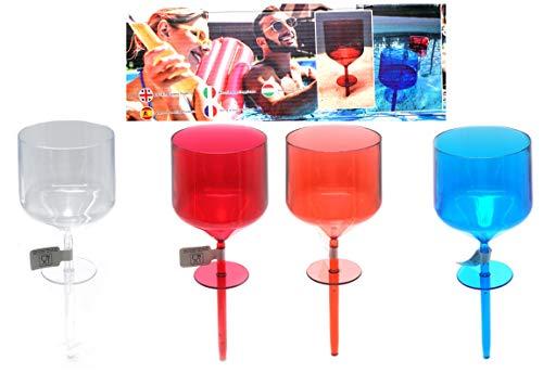 Bada Bing 4er Set Trinkgläser Kunststoff Schwimmend FM Ca. 200 ml Pool Becher In Trendigen Farben Für Pool Plantschbecken Und Strand Garten Party Gläser 40