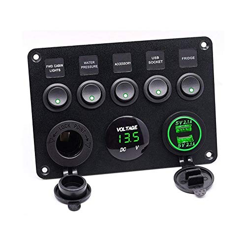 RJJX 5 Interruptor Gang, On-Off Toggle USB del Panel de Control del Cargador del Coche del Barco Yate Combinación Panel con USB y Toma del Encendedor (Color : Green)