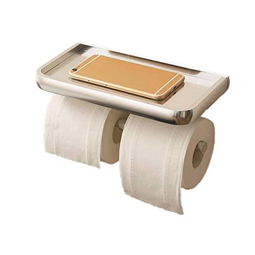 JYDQM Cuarto de baño Papel higiénico Titular de Pared Instalación de Almacenamiento en Rack de Aluminio Espacio Portarrollos