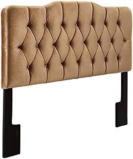 Pemberly Row Velvet Upholstered Queen Panel Headboard in Rich Bronze