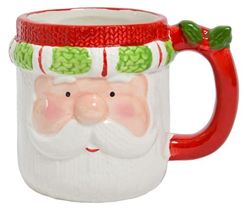 Weihnachtsmann Becher Weihnachtsbecher mit Gesicht - 350 ml aus Keramik mit Henkel, liebevolles Design - Für Heiß- und Kaltgetränke - Geschenk & Geschenkidee