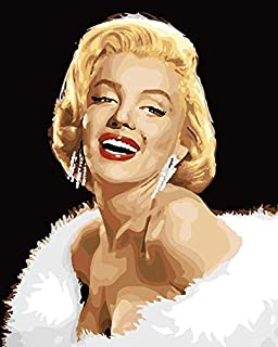 """DIY Plaid Oil Paint by Numbers Acrylic Painting Kit for Adults & Kids 16"""" x 20"""", Drawing Paintwork with Paintbrushes Acrylic Pigment(Marilyn Monroe)"""