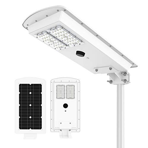 Solar Powered Street Lights, Solar Area Lighting with PIR Motion Sensor and Light Sensor Waterproof IP65 Led Street Light Dusk to Dawn for Outdoor Garage/Courtyard/Garden Light