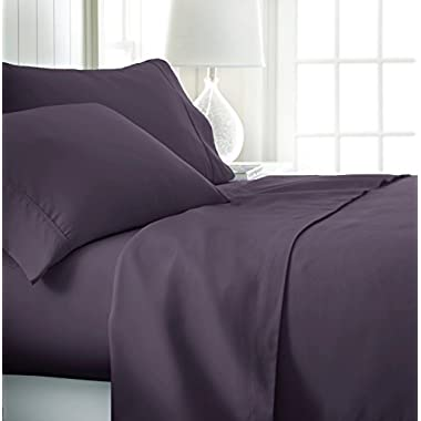 ienjoy Home Hotel Collection Luxury Soft Brushed Bed Sheet Set, Hypoallergenic, Deep Pocket, King, Purple