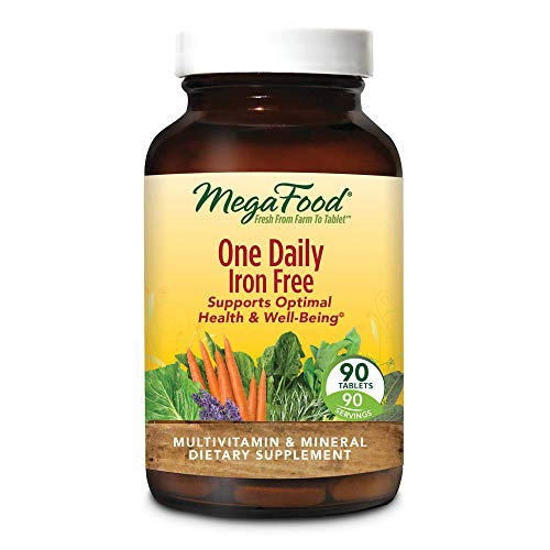 MegaFood, One Daily Iron Free, Supports Optimal Health and Wellbeing, Multivitamin and Mineral Supplement, Gluten Free, Vegetarian, 90 Tablets