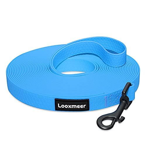 Looxmeer Correa de Adiestramiento para Perros 10m, Correa Perro Larga, Correa de Entrenamiento Perros, Correa Resistente Fuerte para Camping Paseo, Azul