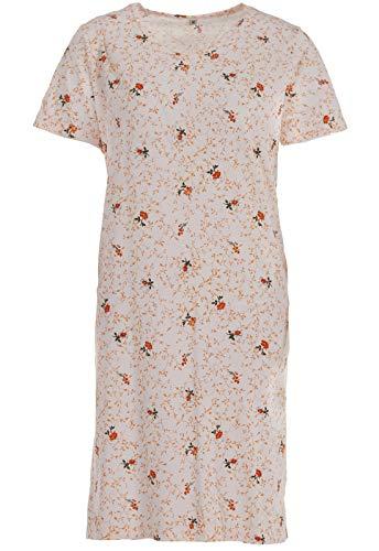 Zeitlos Nachthemd Kurzarm Rosen Blumen V-Ausschnitt Schlafshirt, Farbe:apricot, Größe:XL