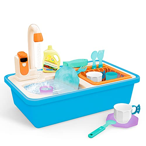 Kitchen Sink Toys, Kids Play Sink with Running Water, Toddlers Sink Toys Kitchen Playset Electric Faucet Dishwasher, Color Changing Dishes Kids Sink, Pretend Play Educational Toy Gifts for Boys Girls