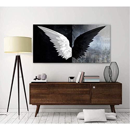 SXXRZA Leinwand Wandkunst 70x140cm ohne Rahmen Moderne Schwarz Weiß Feder Engel Flügel Wandkunst HD Print Poster auf Bildern für Wohnzimmer Home Decor
