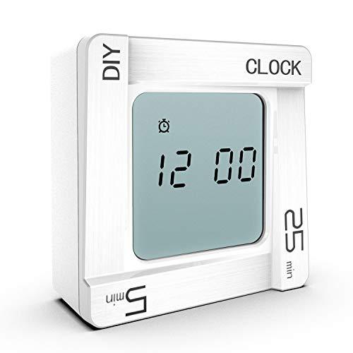 VOLUEX Digitaler Küchentimer und Wecker 2 in 1, Eieruhr Küchenwecker Kurzzeitwecker mit Countdown/Stoppuhr, Ideal Küchenuhr Timer zum Kochen, Backen, Sport, Studieren usw (Weiß)