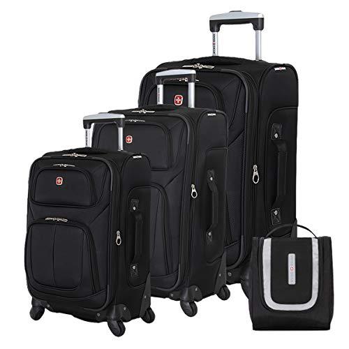 SWISSGEAR 6283 Amazon Exclusive Premium 3pc Spinner Luggage Set with Dopp Kit Bundle - Black