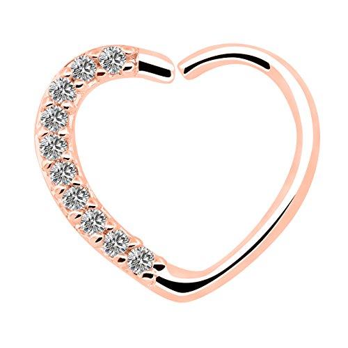 OUFER Body Jewelry 16 Gauge 18Kt Oro Blanco Chapado Claro CZ En Forma de corazón Cierre Derecho Daith Cartilage Tragus Pendientes Hoop (Rose Gold Clear)