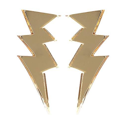 Arete Pendientes De Botón De Relámpago De Oro Para Mujer, Joyería De Moda Acrílica Con Espejo, Accesorios De Rock Punk