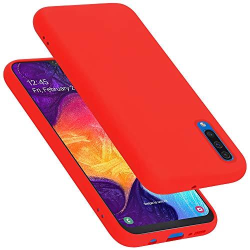 Cadorabo Custodia per Samsung Galaxy A50 / A50S / A30S in LIQUID ROSSO - Morbida Cover Protettiva Sottile di Silicone TPU con Bordo Protezione - Ultra Slim Case Antiurto Gel Back Bumper Guscio