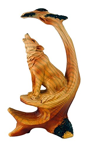 StealStreet MME-924 Ss-Ug-Mme-924, 5' Wolf Howling Scene Carving Faux Wood Decorative Figurine, Brown