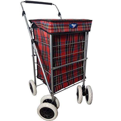 Einkaufstrolley mit 4 / 6 Rädern, robust, mit Rollen, 60 l, Rot