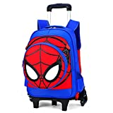 Mochila con Carrito De Equipaje para Niños Spiderman 6 Ruedas Maletas Varilla Tracción Manual Viajes Bolso Vacaciones...