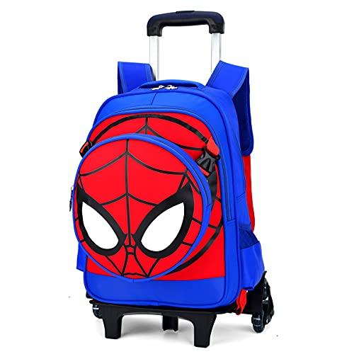 Mochila con Carrito De Equipaje para Niños Spiderman 6 Ruedas Maletas Varilla Tracción Manual Viajes Bolso Vacaciones Regalo Bolsa Libros Escolares,Blue 2 Wheel-30X41X14CM