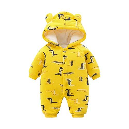 Baby Strampler Overall Mit Kapuze Jungen Mädchen Winter Herbst Schneeanzug Baumwolle Jumpsuit Outfits Langarm Cartoon Babykleidung 12-18 Monate Gelbes Krokodil