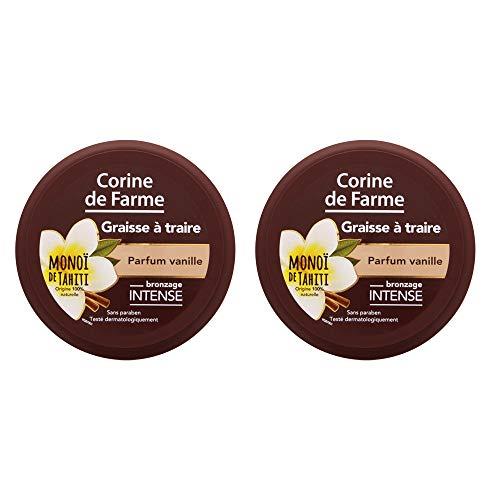 Corine de Farme - Graisse à Traire - Parfum Vanille 150 ml - Monoï Bronzage - Lot de 2