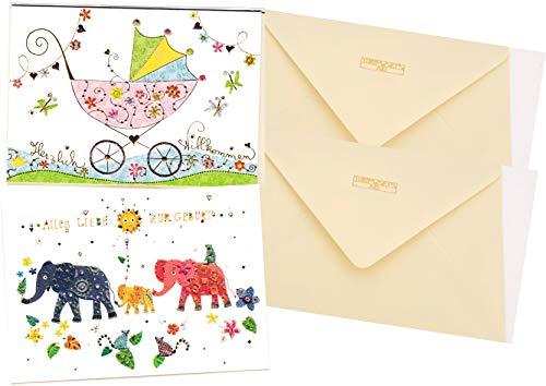 2 Glückwunschkarten zur Geburt - hochwertige Umschlag-Karten von Turnowsky, Herzlich Willkommen - Kinderwagen & Elefanten Familie mit Baby