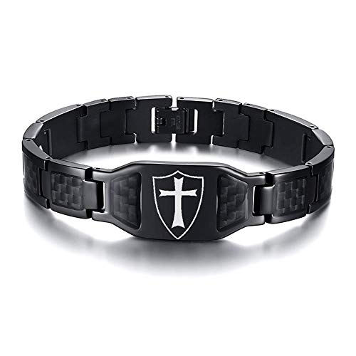 PJ Jewelry Men's Knights Templar Cross Shield Bracelet Stainless Steel Carbon Fiber Inlay Wristband