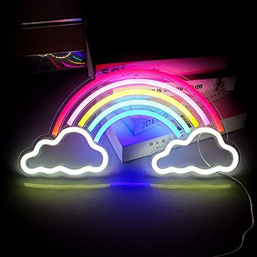 Arcobaleno, lampada fluorescente a LED arcobaleno, lampada colorata neon arcobaleno, alimentata tramite USB, per la casa, la festa di anniversario, San Valentino, regalo per la camera da letto