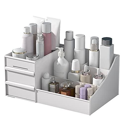 OESFVT Organizador de maquillaje Caja de plástico Caja de madera de gran capacidad para almacenamiento de cosméticos y maquillaje, tocador para el cuidado de la piel
