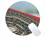 Yanteng Bussola Rotonda Mouse Pad con Bordo di Chiusura, Sfondo Vecchia Mappa Luopan Rotonda Mouse Pad con Bordo Cucito
