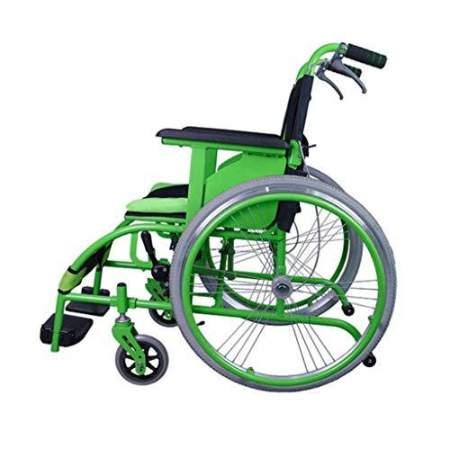 QFF Ultraligera para Adultos con Silla de Ruedas Plegable de la Mano de Empuje en Silla de Ruedas Transporte Transferencias Adecuado Y Fácil de Ancianos Discapacitados Scooter, Verd