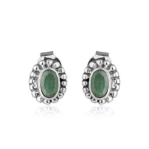 Oxidized 925 Silver Genuine Max 66% OFF Emerald New mail order Gemstone Stud Handmade Earri