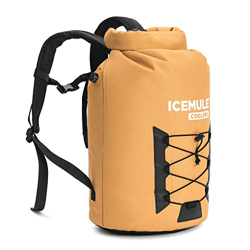 IceMule 1015-TB Pro XLarge Collapsible Portable Soft Sided Roll Top 33 Liter 24 Can Lightweight Insulated Waterproof Leak Proof Backpack Cooler Bag, for Hiking, Camping, Fishing, & Picnic