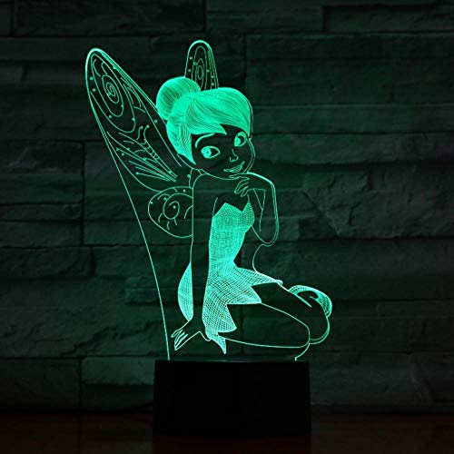 Luz de hadas LED Sensor táctil Baby Girl Nightlight Presente Decoración de la habitación Lámpara de noche Tinkerbell Figure