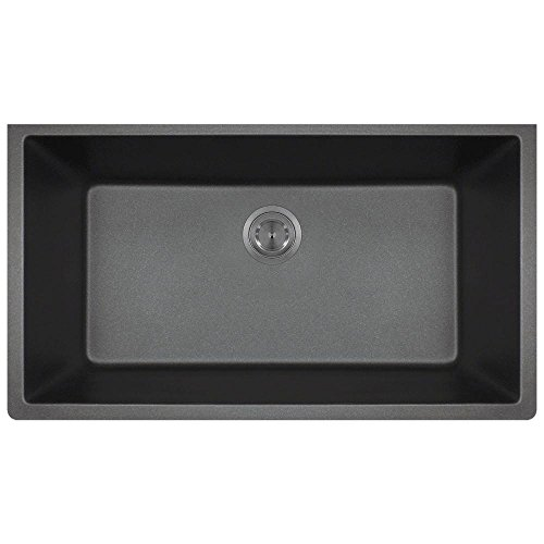 MR Direct 848-black Quartz Granite Kitchen Sink, Black