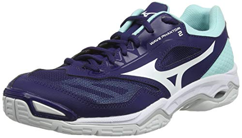 Mizuno Damen Wave Phantom 2 Handballschuhe, Lila (Astral Aura/Weiß/Blau Light 15), 43 EU