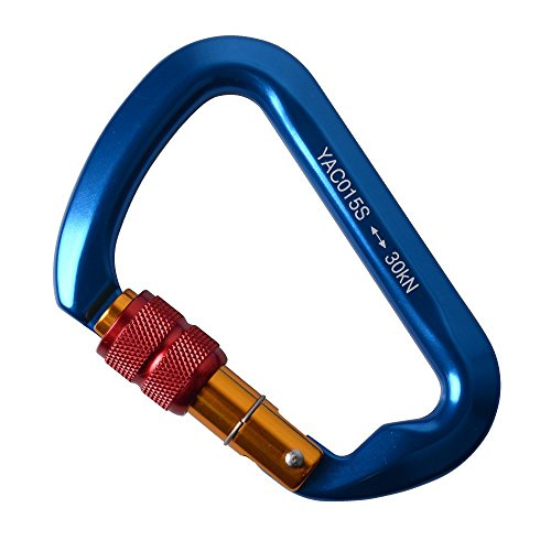 2win2buy 30KN Karabiner, D-förmigen Starke SchraubKarabiner mit Schraubverschluss Aluminum-Legierung Sicherungsclip Karabinerhaken Schlüsselanhänger D-Ring für Outdoor Sport Wandern, Blau