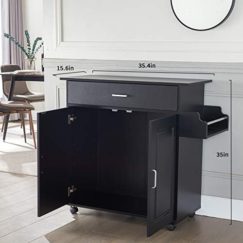 Kitchen Island with Storage on Wheels Kitchen Cart Trolley with Storage, Wood Top Kitchen Cart with Drawers, Buffet Cabinet, Storage Cabinet, Spice Rack for Kitchens Dining, Black