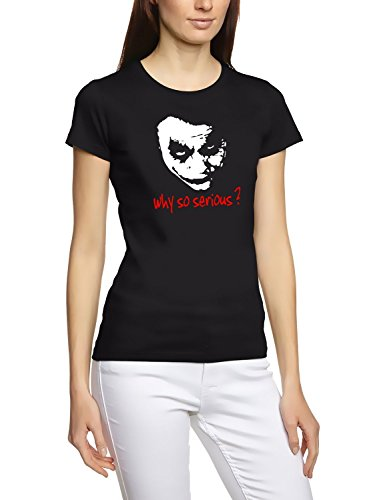 Coole-Fun-T-Shirts Damen Why So Serious Joker T-Shirt, Schwarz, XL