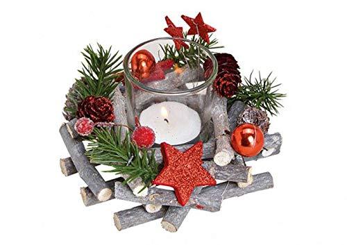 itsisa Festliches Adventsgesteck mit Zweigen & roten Sternen inkl. Teelichtglas, Adventsdeko (Adventskranz), weihnachtliche Tischdeko