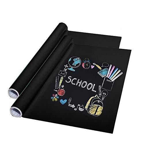 Tafelfolie Selbstklebend, 2 Stück Selbstklebende Tafelfolie in Schwarz, Tafel Wandaufkleber, Wasserdicht Tafelfolie Sticker, für Zuhause und Büro zum Schreiben Zeichnen Basteln, 45x200cm