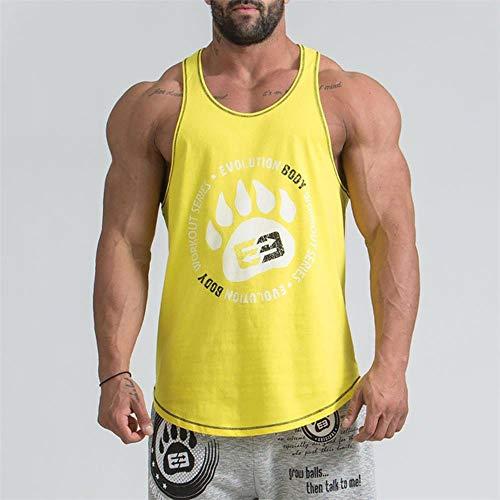 SELLM New Running Vest Herren ?rmelloses Fitness-T-Shirt Bodybuilding Muscle Stringers Unterhemd Gym T-Shirt Sport Tank Top Herren Weste, Gelbe Weste, XXXL