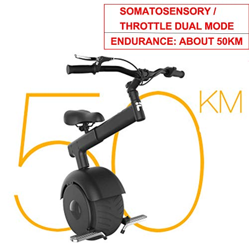 GHH Monociclo eléctrico somatosensorial Scooter de autoequilibrio Monociclo de una Rueda Motocicleta Motocicleta de Viaje Inteligente para Adultos Monociclo 60V / 800W, 50 km de Largo Alcance,Negro